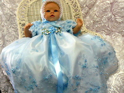 Blue Beaded Gown Organza Embroidered For Reborn Or Baby Size 0-3 Month