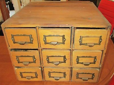 Antique Oak Wood Office File Card Catalog apothecary cabinet Post office Box HTF