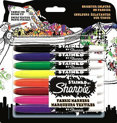 Sharpie Stained Fabric Marker - Assorted Colours, Pack of 8