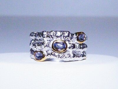 GENUINE! RARE 0.57tcw! Tanzanite Free-size Ring Solid Sterling Silver 925!