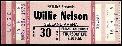 Rare Vintage Unused Willie Nelson Country Music Concert Ticket March 30 1978