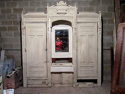 Antique Carved Oak Closet Front ~ Built In ~ 100 X 107  ~ Architectural Salvage