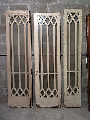 ~ 3 Antique Door And Sidelite Panels ~ Unique Design ~ Architectural Salvage