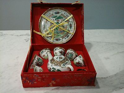 Porcelain Chinese Tea Set 7piece in a Silk Presentation Box Collectible Asian