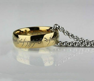 Lord of the Rings Stainless Steel Gold Ring with Chain Bilbo Hobbit