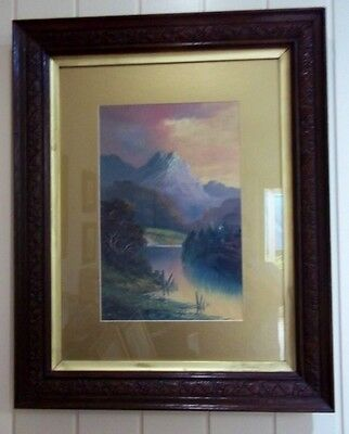 Antique Oil Painting , ' Franz Joseph Glacier NZ ', by A Fitzroy , early 1900's