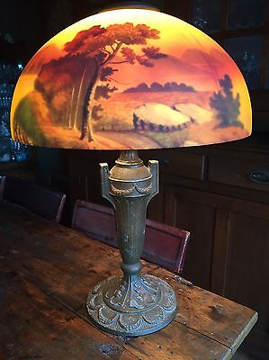 Antique Reverse Painted Landscape Glass TabLe Lamp Handel Era Pittsburgh