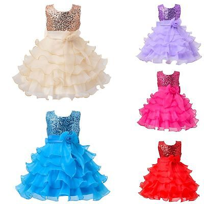 Kids Baby Girl Sequins Flower Princess Dress Wedding Party Formal Tutu Dresses