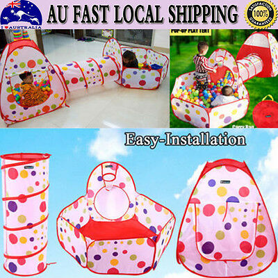 3 IN 1 Kids Toddlers Tunnel Pop Up Play Tent Cubby Playhouse Indoor Outdoor Toy