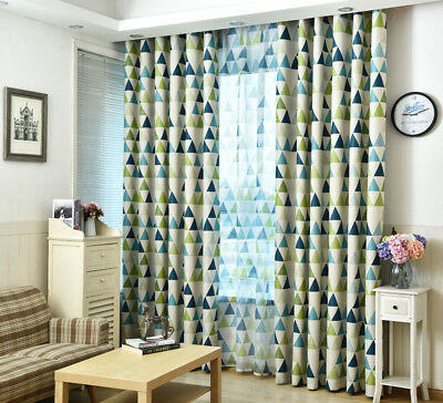 Eyelet Top Blackout Curtain Thermal Warm Triangle Print Shade Cloth Blind 1Piece