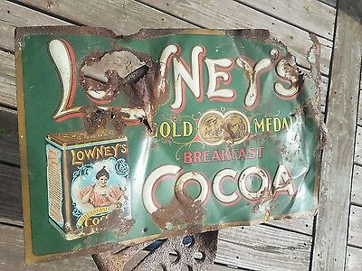 victorian LOWNEY'S COCOA antique ADVERTISING SIGN chocolate TIN breakfast HOT ny
