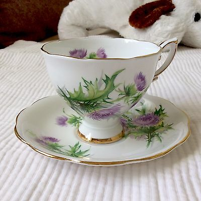 Royal Standard Scots Emblem Bone China Footed Teacup & Saucer Made In England