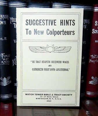 1912 Suggestive Hints To New Colporteurs NICE Repro Watchtower IBSA