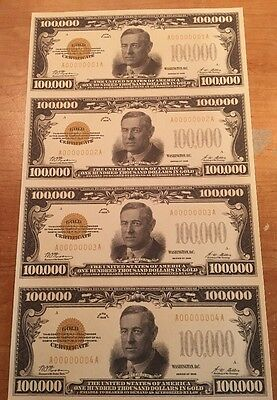 Copy Reproduction 1928 Gold $100,000 Uncut US Currency Sheet Paper Money