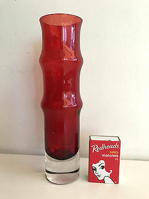 Aseda Glasbruk Swedish red clear cased glass BAMBOO vase scandinavian Borgstrom