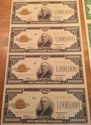 Copy Reproduction 1928 Gold Seal $1 Million Uncut US Currency Sheet Paper Money