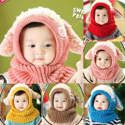 Winter Warm Hat Coif Hood Woolen Cap Scarf For New Toddler Boy Girl Baby Kid AU
