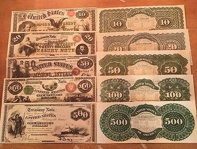 Reproduction  Paper Money 1864 5PC Treasury IBN Set US Currency Copy Note
