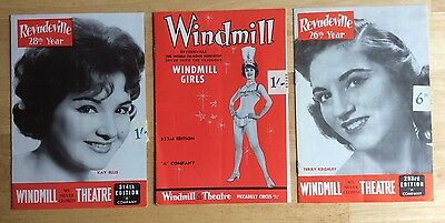 lot of 3 *WINDMILL THEATRE* Piccadilly Circus 1960s booklets PIN UPS cheesecake