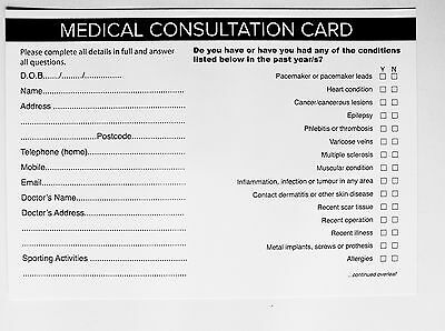 SALON - THERAPIST CLIENT MEDICAL CONSULTATION RECORD CARDS (50 pack) A5 Size
