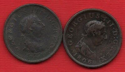 1806 & 1807 KING GEORGE III COPPER PENNY COINS. 2 X 1d.