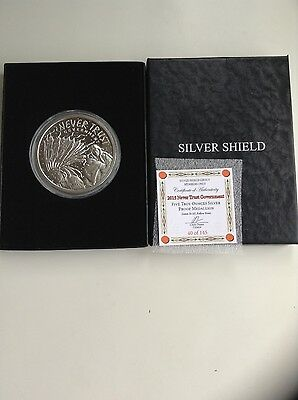 5oz NEVER TRUST GOVERNMENT silver shield proof