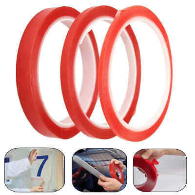 3/6/9/12mm 5M Craft DIY Double Sided Sticky Adhesive Tape Strong Super Red Roll