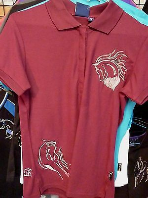 Size L10 Stocktake Sale HorseUP Maroon Embroidered Horse Heart Polo Shirt