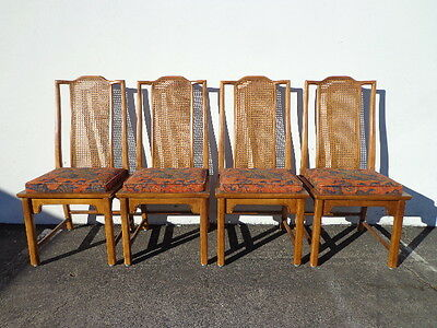 Dining Chairs Ming Chinese Cane Wood Century Chippendale Chic Hollywood Regency