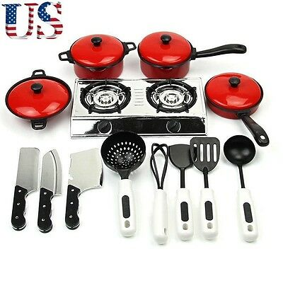 Kids Play House Toy Kitchen Cooking Food Utensils Pans Pots Dishes Cookware 1Set