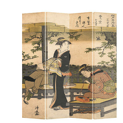 Room Divider Japanese Woman Calligraphy Folding Screen 4 Panel Printed Canvas