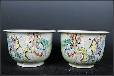 A Pair Beautiful Chinese Famille Rose Porcelain Immortals Flower Pots