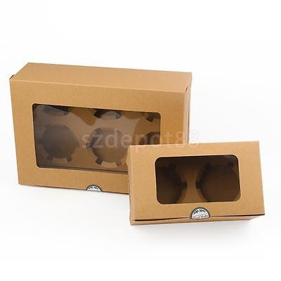 20x Kraft Cupcake Muffin Boxes with Paper Holder Bakery Box with Window