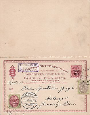 1909: West-India: Denmark/St. Thomas to Germany/Dieburg