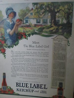 ~Blue Label Ketchup Girl Advertising Print Poster Vintage~Country Decor~CuTe