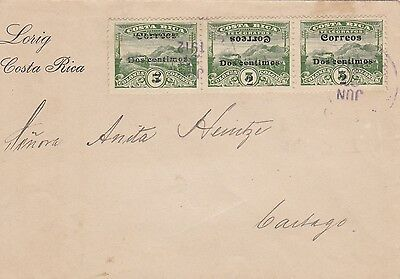 1912: letter Cost Rica to cartag: turned overprint !!!!