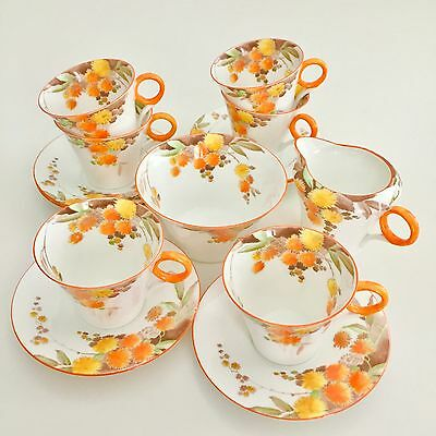 "Shelley Art Deco coffee service, Regent shape demitasse with ""Acacia"" 1940"