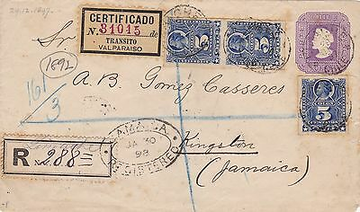 1898: Registered Letter from Chile to Jamaica/Valparaiso