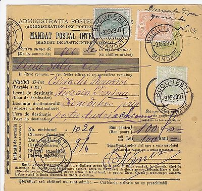 1907: parcel card Romaina/Bucaresti to Austria