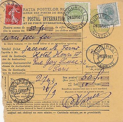 1907: parcel card Romaina/Bucaresti to France/Paris