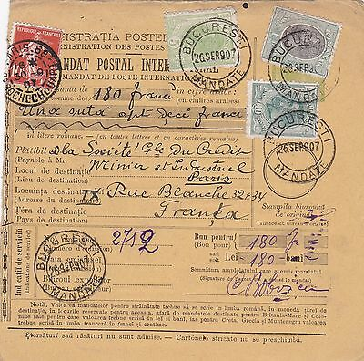 1907: parcel card Romaina/Bucaresti to France