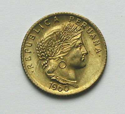 1960 PERU Brass Coin - 10 Centavos - UNC toned lustre & tone spots - Andes woman
