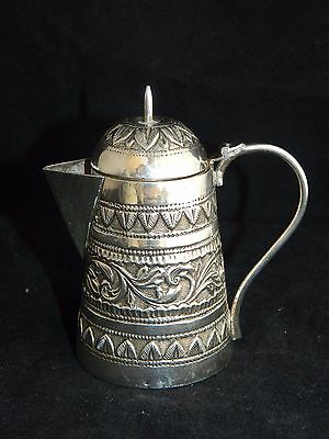 Antique Indian Kutch silver miniature coffee pot