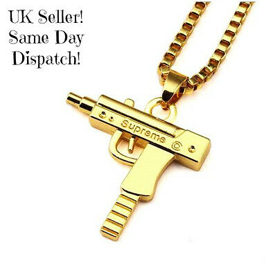 Supreme Uzi Machine Gun Pistol Necklace Pendant Chain Gold UK Seller