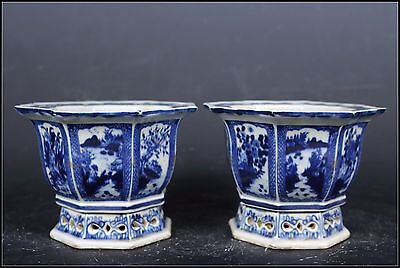 A Pair Beautiful Chinese Blue and White Porcelain Landscape View Flowers Pots