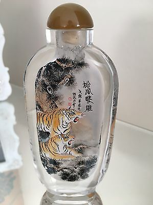 Super Exceptional Chinese Inside Painted Crystal Glass Snuff Bottle Tigers