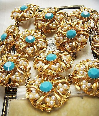Stunning Vintage Jewellery Turquoise Rhinestone Faux Seed Pearl Flower Necklace