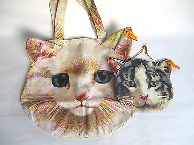 Muchacha Ahcahcum 2012 Spring Summer White Cat Toto Bag & Cat Mini Bag Used