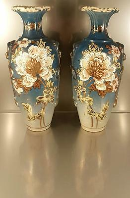 FANTASTIC PAIR OF ANTIQUE/VINTAGE EARLY 1900s JAPANESE SATSUMA BLUE VASES SIGNED