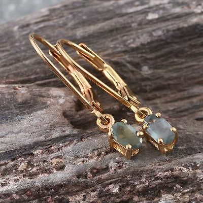 Rare Natural Colour Change Alexandrite 14K Y Gold/925 Leverback Earrings